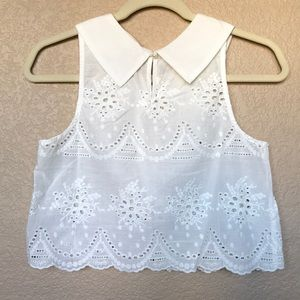 Wet Seal Tops - Wet Seal Eyelet Lace Crop Top with Collar